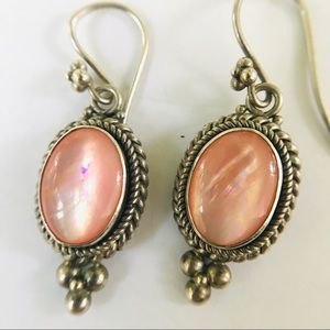 Sterling Silver Pink Opalescent Gemstone Earrings